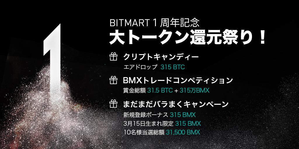 「BitMart」1周年記念キャンペーン 新規登録で315 BMXもらえる!残高に対してエアドロップも!