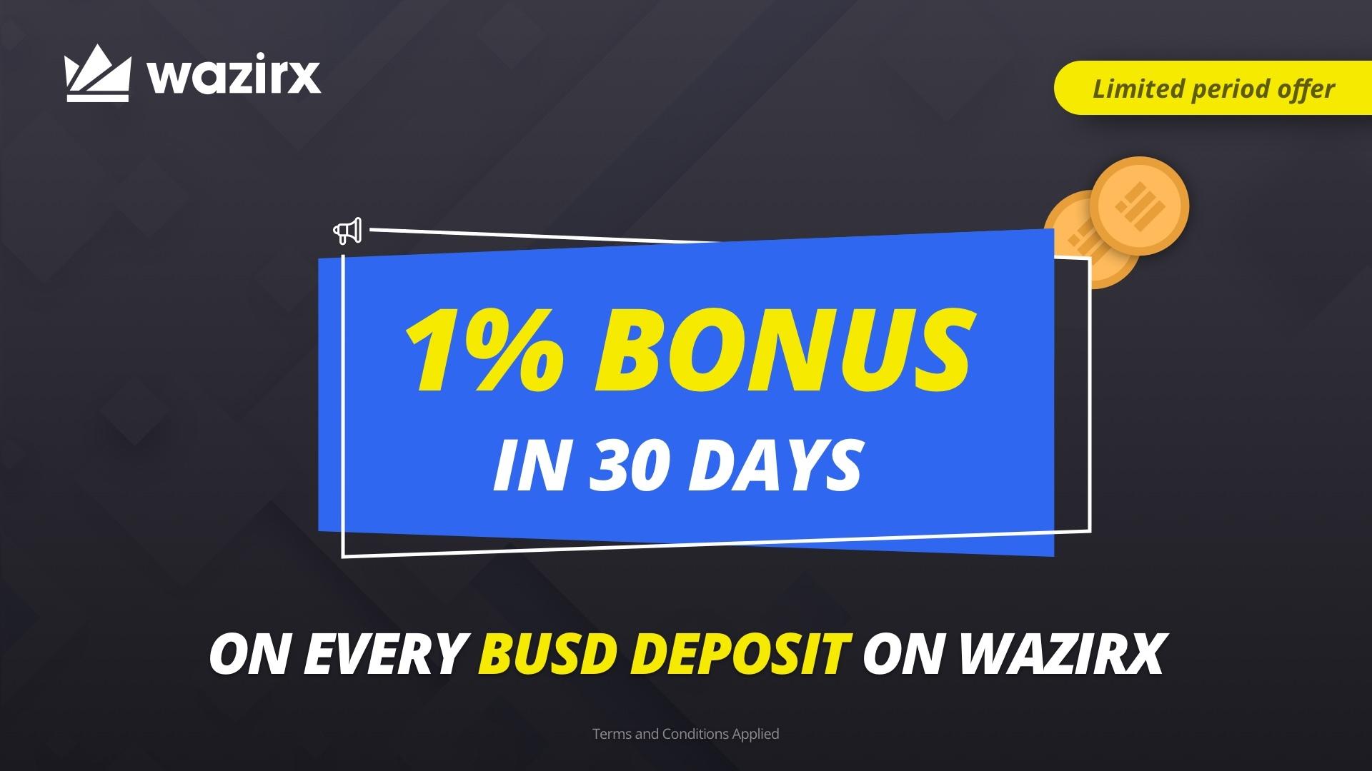 「Wazirx」BUSDを入金するたびに1%ボーナスを獲得できます!