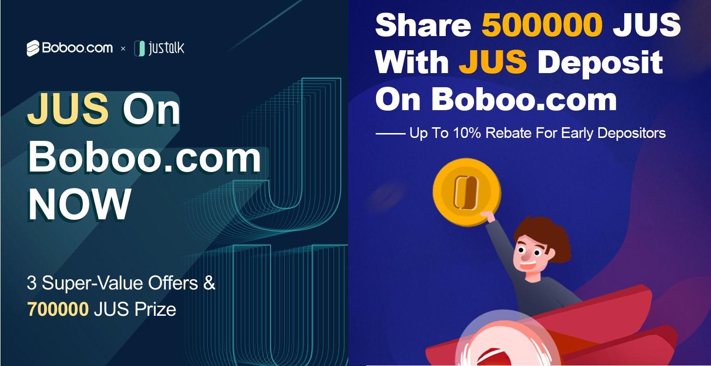 「Boboo」JUS上場記念3つのボーナスイベント BOBTホルダーに100000JUSエアドロップ