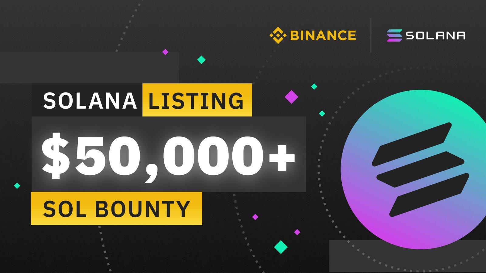 「Binance」Solana(SOL)上場記念 $ 50,000の賞金プロモーションを開始