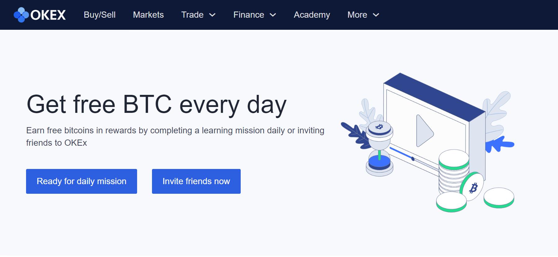 「OKEX」簡単な学習ミッションで毎日ビットコインをもらおう!