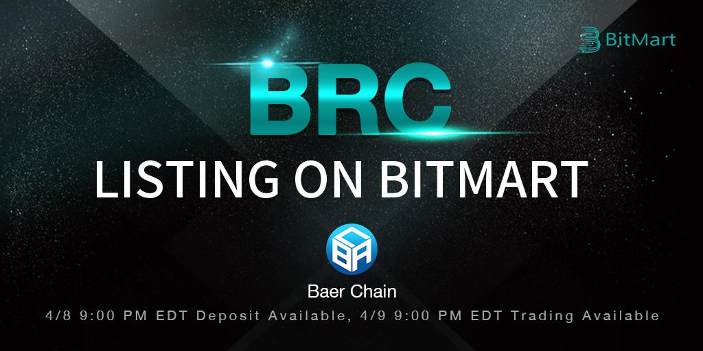 「BitMart」BRC(Baer Chain)をリスティング