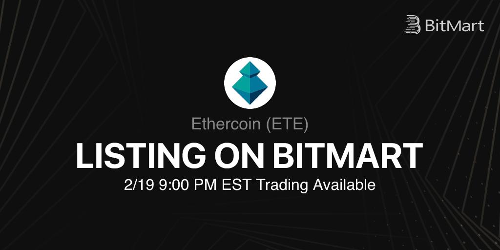 「BitMart」Ethercoin(ETE)をリスティング