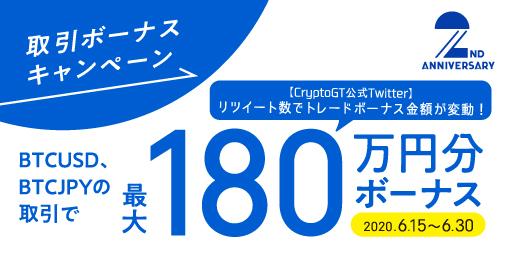 「CryptoGT」【最大180万円!】取引ボーナスキャンペーン!