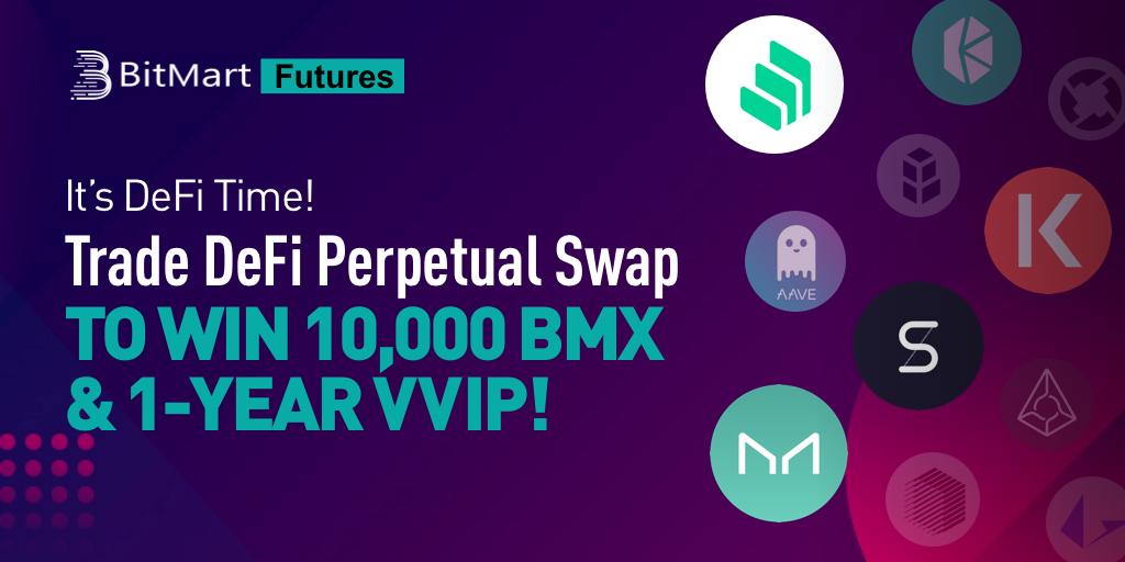 「BitMart」DeFi永久スワップでトレードして10,000 BMX +1年間のVVIPを獲得しよう!